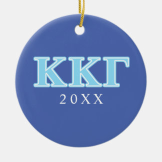 Kappa Kappa Gamma Baby Blue Letters Round Ceramic Decoration