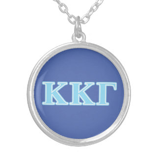 Kappa Kappa Gamma Baby Blue Letters Silver Plated Necklace
