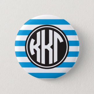 Kappa Kappa Gamma | Monogram Stripe Pattern 6 Cm Round Badge