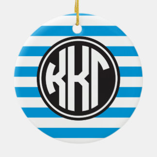 Kappa Kappa Gamma | Monogram Stripe Pattern Christmas Ornament