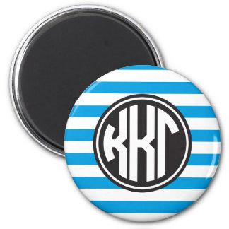 Kappa Kappa Gamma | Monogram Stripe Pattern Magnet