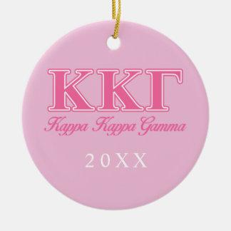 Kappa Kappa Gamma Pink Letters Christmas Ornament