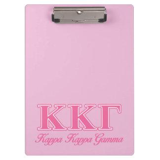 Kappa Kappa Gamma Pink Letters Clipboard