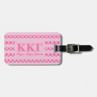 Kappa Kappa Gamma Pink Letters Luggage Tag