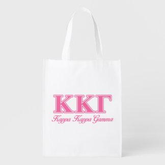 Kappa Kappa Gamma Pink Letters Reusable Grocery Bag