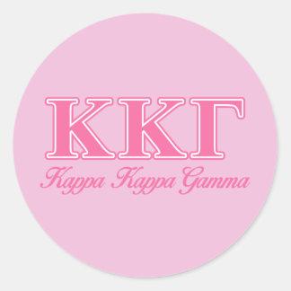 Kappa Kappa Gamma Pink Letters Round Sticker