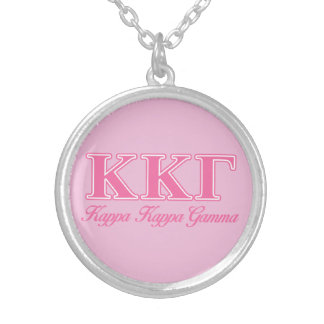 Kappa Kappa Gamma Pink Letters Silver Plated Necklace