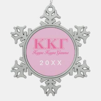 Kappa Kappa Gamma Pink Letters Snowflake Pewter Christmas Ornament