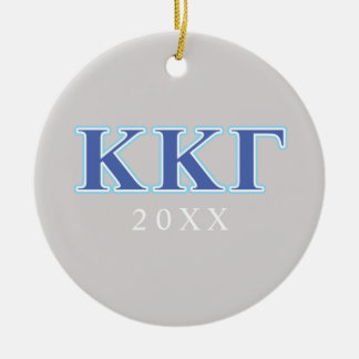 Kappa Kappa Gamma Royal Blue and Baby Blue Letters Christmas Ornament