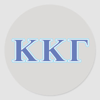 Kappa Kappa Gamma Royal Blue and Baby Blue Letters Classic Round Sticker