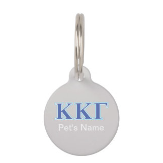 Kappa Kappa Gamma Royal Blue and Baby Blue Letters Pet ID Tag
