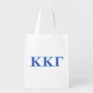 Kappa Kappa Gamma Royal Blue and Baby Blue Letters Reusable Grocery Bag