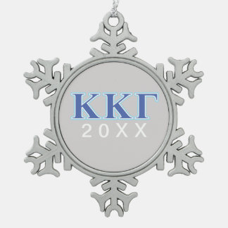 Kappa Kappa Gamma Royal Blue and Baby Blue Letters Snowflake Pewter Christmas Ornament
