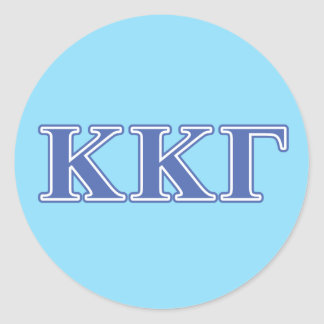 Kappa Kappa Gamma Royal Blue Letters Classic Round Sticker
