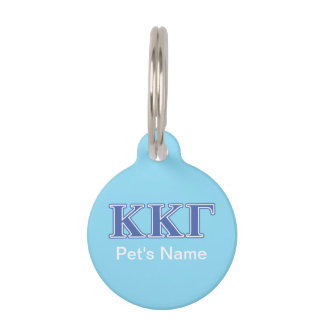 Kappa Kappa Gamma Royal Blue Letters Pet ID Tag
