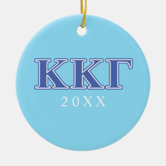 Kappa Kappa Gamma Royal Blue Letters Round Ceramic Decoration