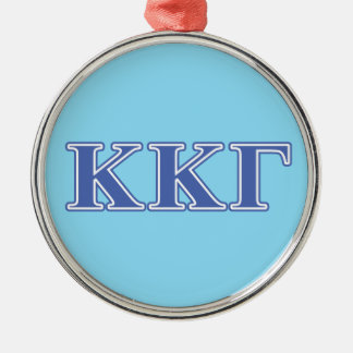 Kappa Kappa Gamma Royal Blue Letters Silver-Colored Round Decoration