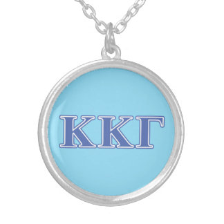 Kappa Kappa Gamma Royal Blue Letters Silver Plated Necklace
