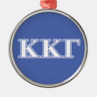 Kappa Kappa Gamma White and Royal Blue Letters Christmas Ornament