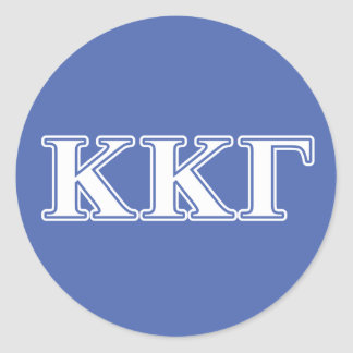Kappa Kappa Gamma White and Royal Blue Letters Classic Round Sticker