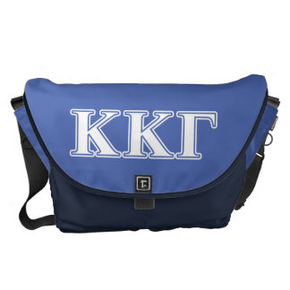 Kappa Kappa Gamma White and Royal Blue Letters Courier Bag