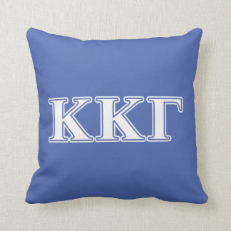 Kappa Kappa Gamma White and Royal Blue Letters Cushion