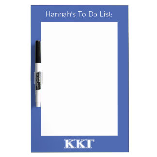 Kappa Kappa Gamma White and Royal Blue Letters Dry Erase Board