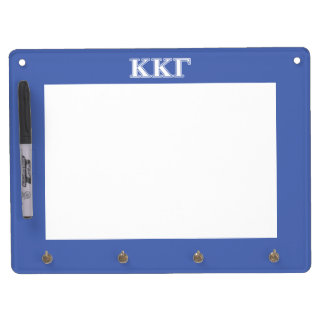 Kappa Kappa Gamma White and Royal Blue Letters Dry Erase Board With Key Ring Holder