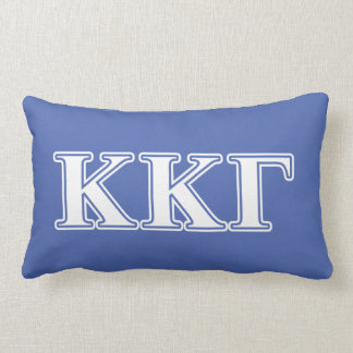 Kappa Kappa Gamma White and Royal Blue Letters Lumbar Cushion