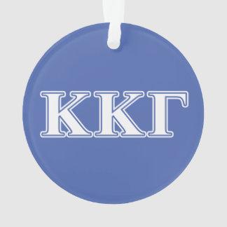 Kappa Kappa Gamma White and Royal Blue Letters Ornament