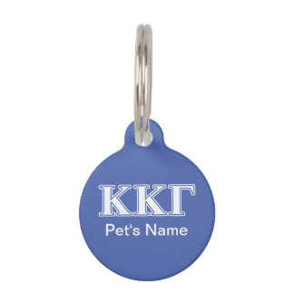 Kappa Kappa Gamma White and Royal Blue Letters Pet ID Tag