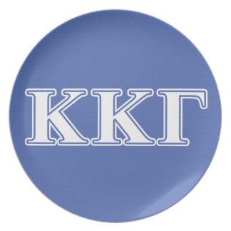 Kappa Kappa Gamma White and Royal Blue Letters Plate