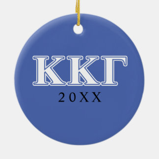 Kappa Kappa Gamma White and Royal Blue Letters Round Ceramic Decoration
