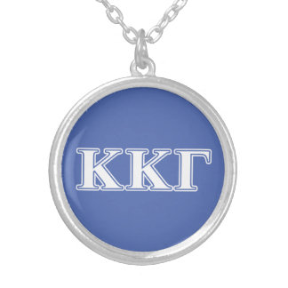 Kappa Kappa Gamma White and Royal Blue Letters Silver Plated Necklace