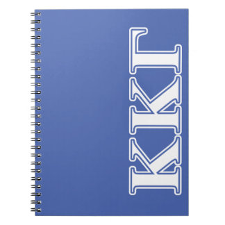 Kappa Kappa Gamma White and Royal Blue Letters Spiral Notebook