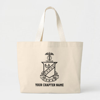 Kappa Sigma Crest - Black and White Large Tote Bag