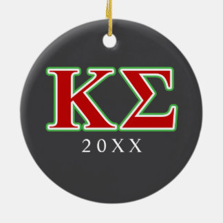 Kappa Sigma Red and Green Letters Round Ceramic Decoration