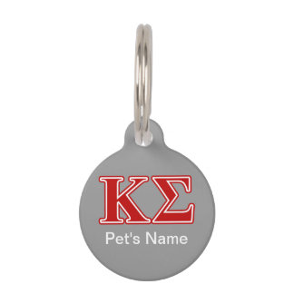 Kappa Sigma Red Letters Pet Name Tag