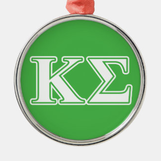 Kappa Sigma White and Green Letters Christmas Ornament