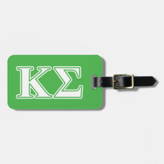 Kappa Sigma White and Green Letters Luggage Tag