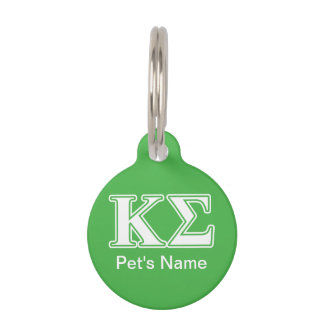 Kappa Sigma White and Green Letters Pet Name Tag