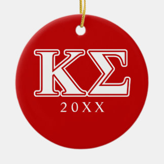Kappa Sigma White and Red Letters Christmas Ornament