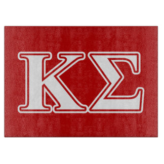 Kappa Sigma White and Red Letters Cutting Board