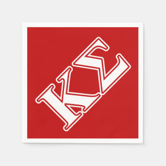 Kappa Sigma White and Red Letters Disposable Napkin