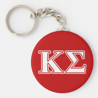 Kappa Sigma White and Red Letters Key Ring