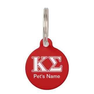 Kappa Sigma White and Red Letters Pet Tag