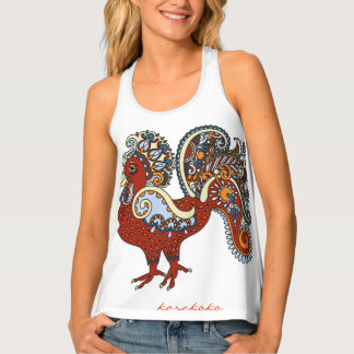Karakoko Ethnic Rooster Tank Top Brick Red