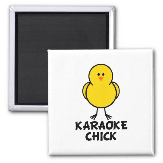 Karaoke Chick Square Magnet