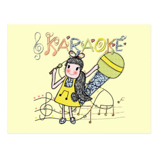 Karaoke Girl Postcard