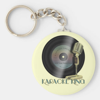 Karaoke King Basic Round Button Key Ring